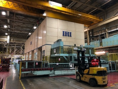 IHI Cold sheet steel forming line with attached material handling equipment, S/N: 1511-738, Year: 1995, with IHI Mechanically Driven Friction Presses (X4), A1 2300 Ton, A2–A4 1000 Tons, Oyabe Seiki De-stack feeder and X7 loading/unloading units, end of li