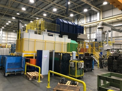 UBE UB2500iV-JL Die Casting Machine, S/N: 1017914, Year: 2018, with Vistech Cooling Systems EWK-680/09 cooling tower, S/N: 6012452-2135 , Robots to include: Fanuc M-900iB takeout robot (2017), Fanuc R2000iC spray robot (2017) , Fanuc R2000iC Ladling robot
